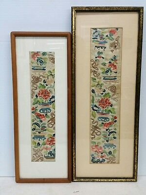 Antique Chinese Silk Embroideries Pair 19th Century Qing Dynasty