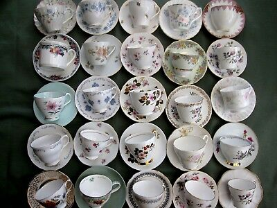 JOB LOT OF 10 VINTAGE CUPS WITH MISMATCH SAUCERS - ideal for tea parties, etc