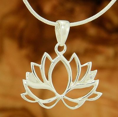 """Lotus Flower Yoga Pendant 925 Sterling Silver Zen 20"""" Chain Necklace Jewelry"""