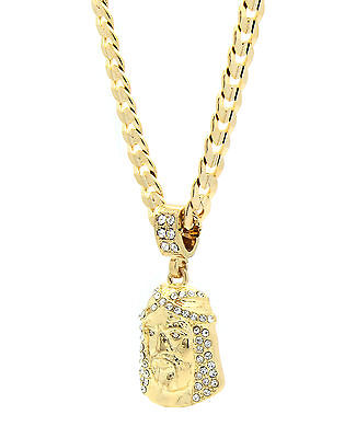 "Mens 14k Gold Plated Cz Jesus Face Pendant Hip-Hop 24"" Cuban Necklace Chain"