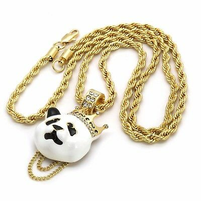 """314k Gold Plated Custom Iced Out Hip Hop Crown Panda Pendant with 24"""" Rope Chain"""