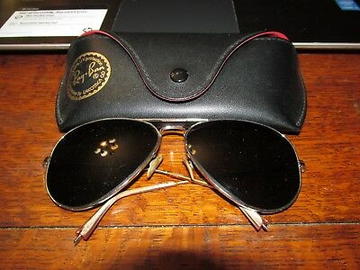 ed77195b0bc Ray-Ban Bausch Lomb Vintage Aviator Sunglasses 58 14 W case Silver Frame