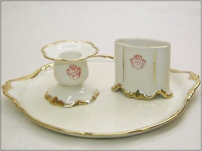 altes ALKA SET No 2008 PORZELLAN PLATTE KERZENHALTER old porcelain SET echt Gold