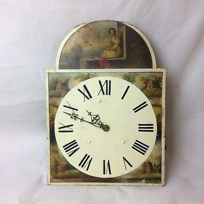 Antique 30 Hour Longcase Clock Movement And Arched Dial