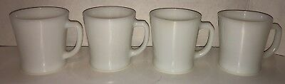 Vintage FIRE KING ANCHOR HOCKING Restaurant Ware Coffee Cups Mugs White Set of 4