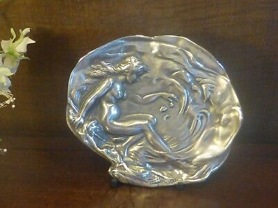 ANTIQUE ART NOUVEAU Kayserzinn/WMF  PEWTER JEWEL/CARD/MONEY TRAY/DISH nude lady