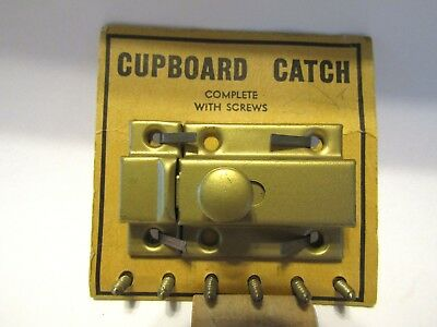 Vintage NOS Satin BRASS Cupboard / Cabinet Door Catch Thumb Latch Spring Knob