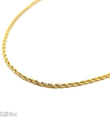 """Mens 14K Yellow Gold Plated 3mm Rope Chain Necklace 24"""""""
