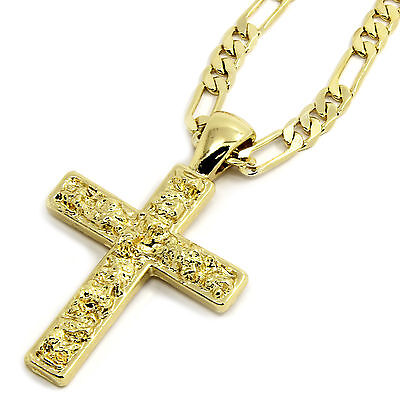 "Mens 14K Gold Plated Nugget Cross Pendant Hip-Hop 5mm/24"" Figaro Chain"