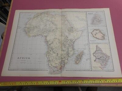 100% Original Large Africa Map By Blackie C1882 Vgc Mauritius Natal
