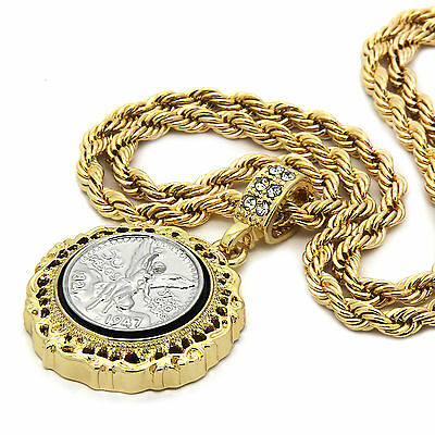 """Mens 14K Gold Plated 50 Cent Peso Hip-Hop 4 mm/24"""" Rope Chain With pendant"""