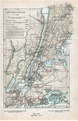 Map Of New York 1776.Original 1776 Revolutionary War Map New York Campaign Hudson River