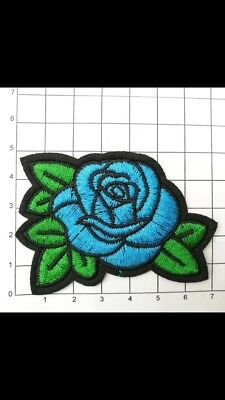 2x Beautiful Blue Embroidered Rose Iron On Patch Tattoo Style Retro Glamour Goth