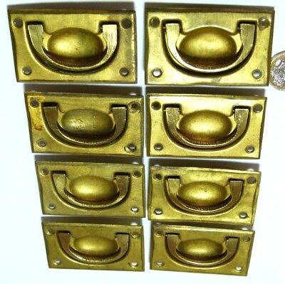 SET x8 REPRODUCTION ANTIQUE BRASS CAMPAIGN SHIP CHEST/DRAWER/DOOR HANDLE RECYCLE