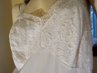 Vintage Sheer White Lace Bust Double Nylon Tricot Full Slip Rogers Sz 40 50s 60s