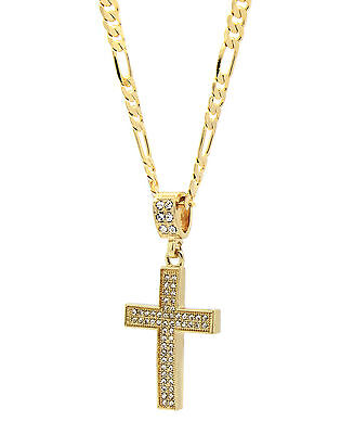 "Mens 14k Gold Plated Cz G4-Thin Cross Pendant Hip-Hop 24"" Figaro Necklace Chain"