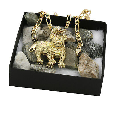 "Men's 14k Gold Plated High Fashion Bull Dog Pendant 5mm 24"" Inch Figaro chain"
