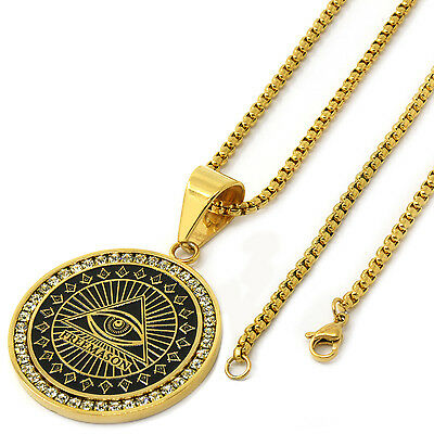 "Men Gold Tone Stainless Steel Free Mason Medal Pendant 3mm24"" Box Chain Necklace"