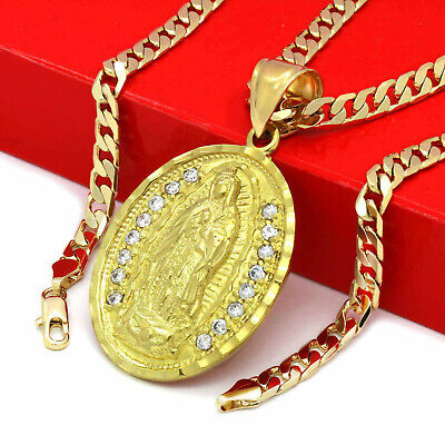 """Mens 18k Gold Plated Brass CZ Oval Guadalupe Pendant 6mm 24"""" Cuban  Chain"""