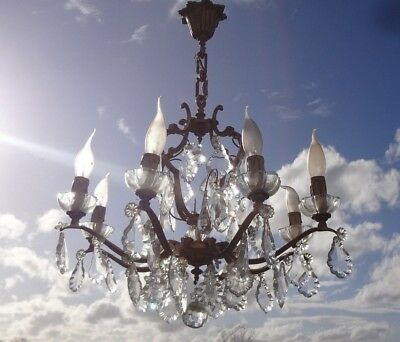 ANTIQUE FRENCH BRONZE & CRYSTAL 8 Candle BIRD CAGE CHANDELIER