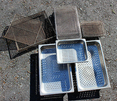 Mixed Lot 15 Pieces Steam Table Pans Footed Cooling Racks Metal Basket Screen