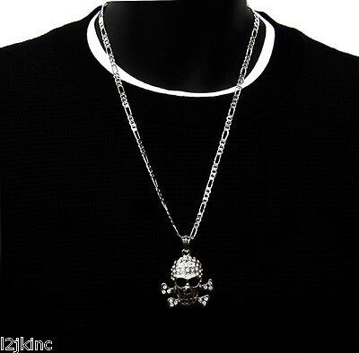 Silver Iced Out Cz Gold Skull Pendant Hip-Hop 24 Inch 5mm Figaro Necklace Chain
