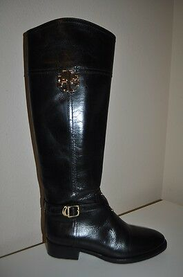 d597e13e5488  495 Tory Burch ELOISE Black Leather Knee High Tall Riding Boot Sz 6 Boots  shoe
