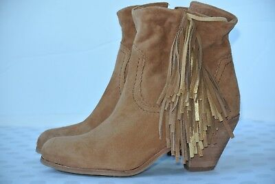 6b914aa4e NEW Sam Edelman Louie Womens Sz 6.5 M Brown Suede Leather Fringe Ankle Boots