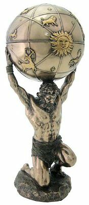 12.5 Inch Greek God Atlas Statue w/ Globe Container Musuem Sculpture Figurine