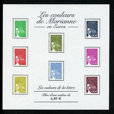 France Scott #2957a MNH S/S Marianne with RF at lower left Euro Currency CV$22+