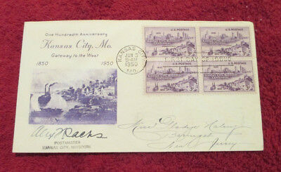 1950 First Day of Issue Cover - Kansas City, Missouri - SIGNED by Postmaster