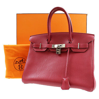 HERMES Birkin 30 Hand Tote Bag Red Togo Leather Vintage France Authentic   Z55 M 29fdce8a67185
