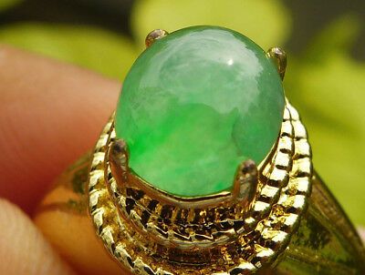 Myanmar Natural Untreated Jadeite Jade A Light Apple Green Color Ring 2.05 cts