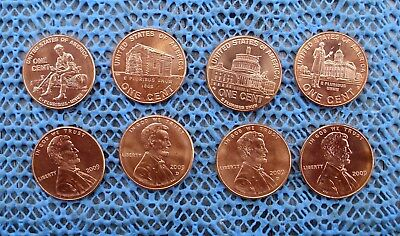 8 UNC 2009 Lincoln Bicentennial pennies - P & D of each of the 4 reverses