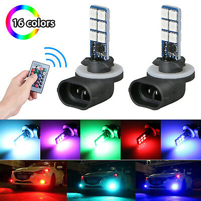 2pcs 881 5050 RGB LED 12SMD Car Headlight Fog Light Lamp Bulb Remote Control 12V