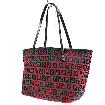 2635df352b FENDI Zucca Pattern Hand Bag Red Canvas Leather Italy Vintage Authentic   Q976 W