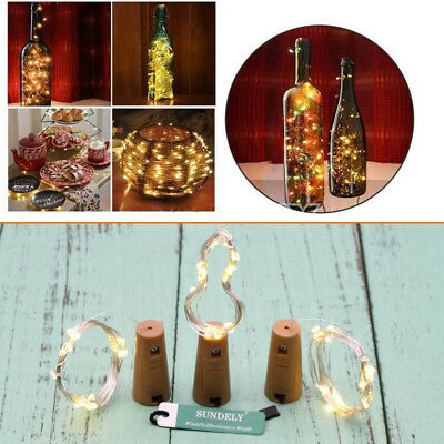 2M 20LED Cork Wine Bottle Stopper Copper Wire String Lights Fairy Lamps