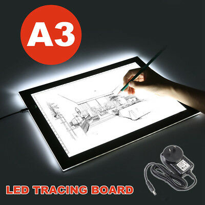 "19"" A3 LED Board Craft Tracing Drawing Ultra Thin Stencil Table Pad Light Box AU"