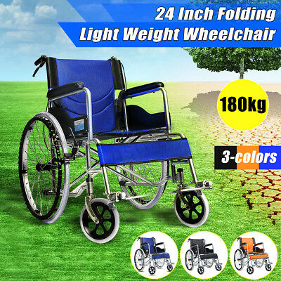 UPGRADED 24 Inch Folding Wheelchair with Park Brakes Folding Armrests for Dining