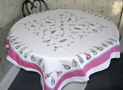 1950s Novelty Cocktail Linen Tablecloth Mid Century