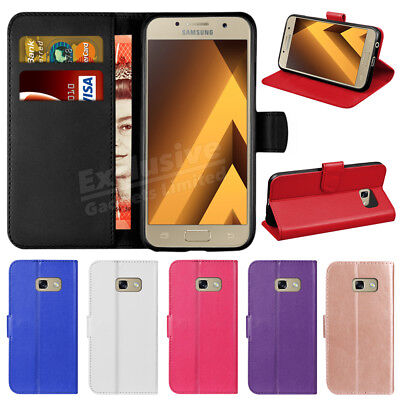 For Samsung Galaxy A3 A5 A6 A7 2018 Luxury Genuine Leather Flip Wallet Case Covr
