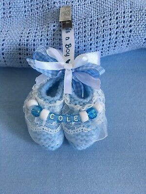 Personalised Hand Knitted Hanging Pram Stroller Buggy Charms Baby Boy Booties