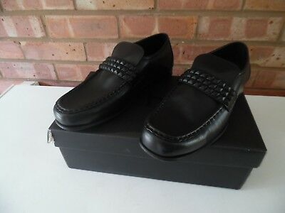 Mens Schuh Argent Stud Black Leather Shoes Loafers Slip Ons Size 8 Brand New