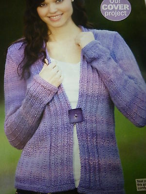 f6b26d2b089306 Knitting Pattern For Lady s Rib Twist Cardigan In Sirdar Escape D.K. 30-46in