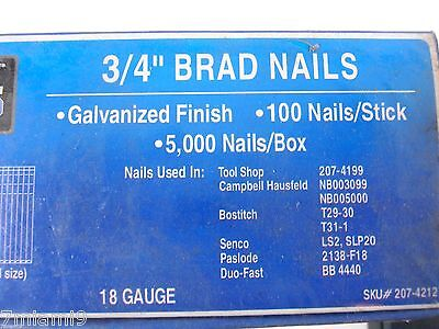 "Lot of two 3/4"" 18 Gauge Galvanized  Finish Brad Nails 10,000 Count"