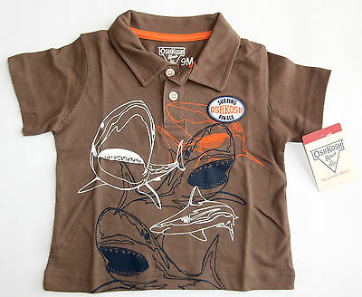 NWT: New OSHKOSH Brown Shark Surfing Shirt, 6, 9 or 18 Months