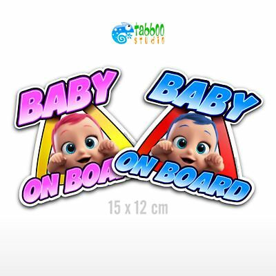 Adesivo auto bimbo bimba a bordo Baby on board stickers bambino bambina