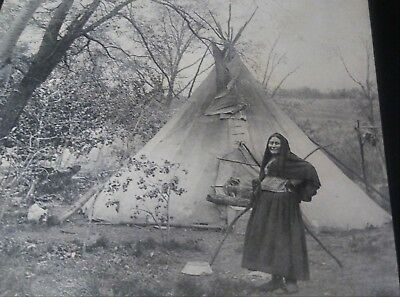Circa 1890 Photograph Of A Native American Lady In Front Of Teepee