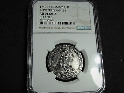 1745 Augsburg City View Silver ¼ Taler Certified by NGC.