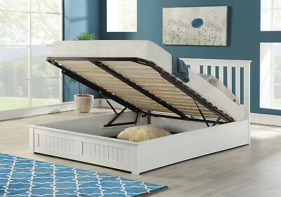 4FT Small Double Wooden Gas Lift Up Ottoman Storage Bed Frame in White